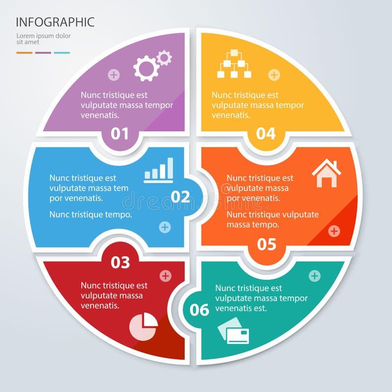 Seis apresentações infographic redondas do enigma liso da parte Diagrama do negócio do círculo ilustração stock