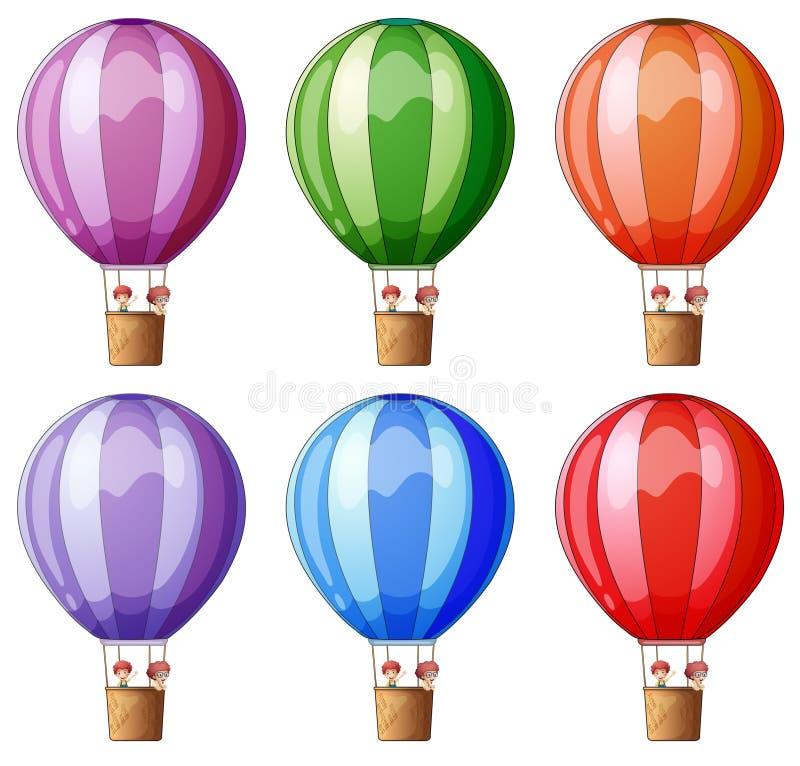 Seis balões de ar quente coloridos ilustração royalty free