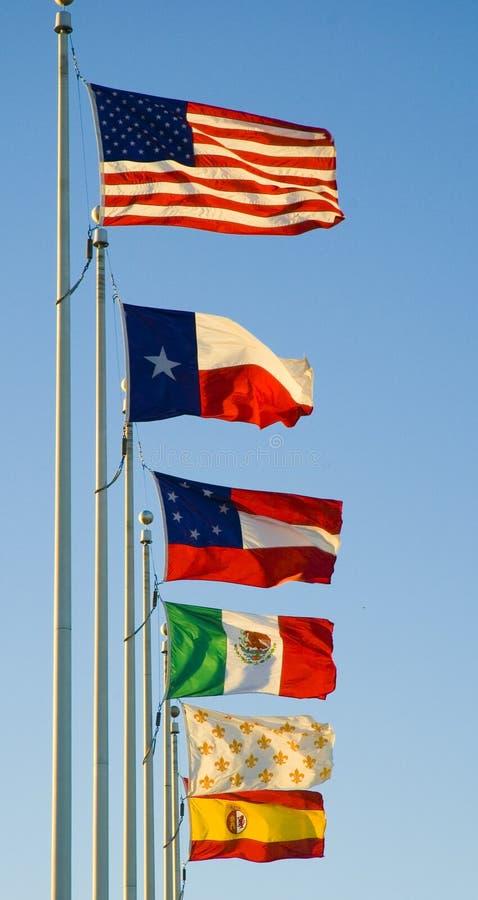 Seis bandeiras de Texas imagens de stock royalty free