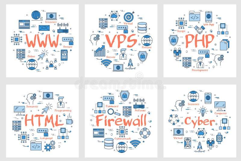 Seis bandeiras do negócio - WWW, PHP, HTML, guarda-fogo ilustração stock
