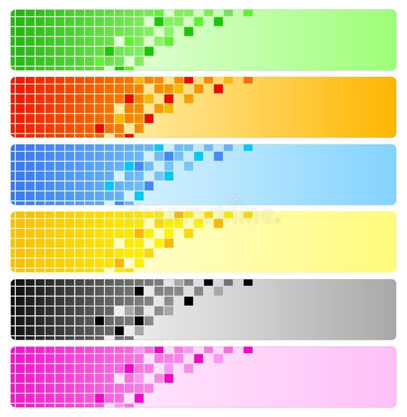 Seis banderas abstractas con los pixeles libre illustration