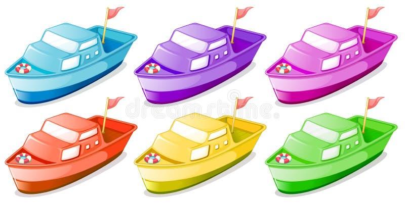 Seis barcos coloridos ilustração stock