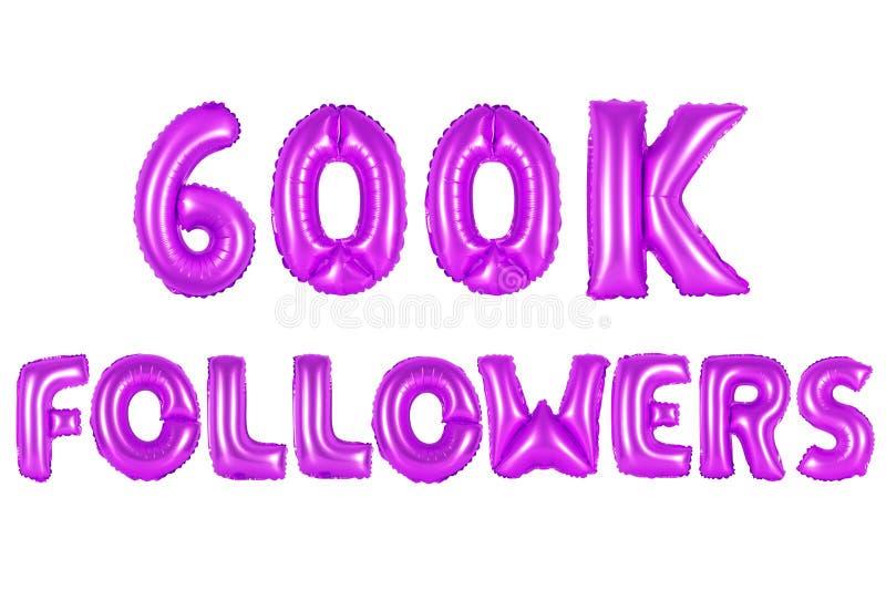 Seis cem mil seguidores, cor roxa fotos de stock royalty free