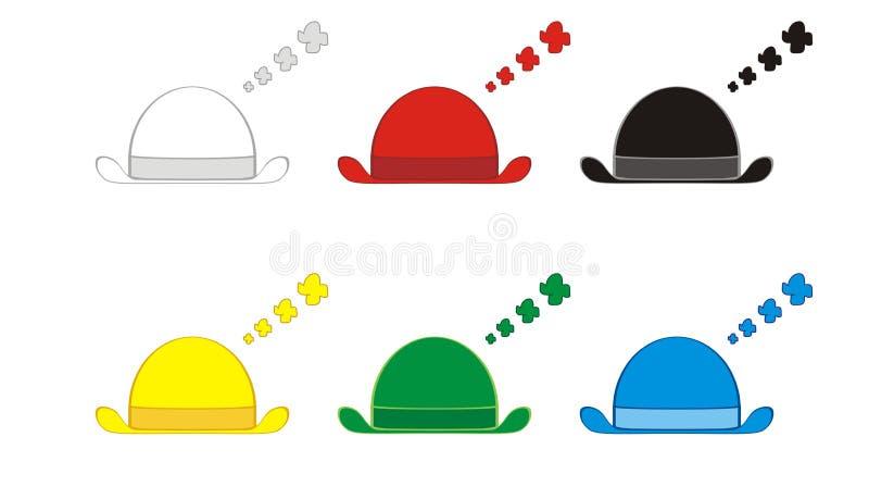 Seis chapéus de pensamento ilustração do vetor