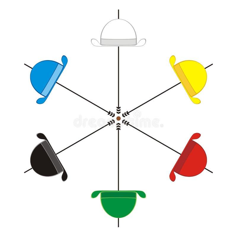 Seis chapéus de pensamento ilustração royalty free