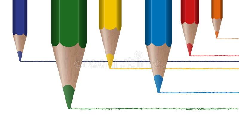 Seis coloriram linhas da tração dos lápis ilustração stock