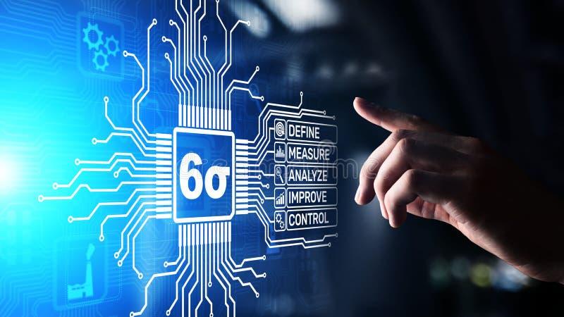 Seis conceitos industriais do negócio do controle da qualidade da tecnologia da inovação do sigma DMAIC imagem de stock
