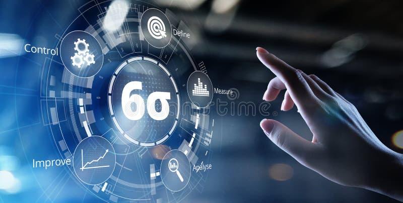 Seis conceitos industriais do neg?cio do controle da qualidade da tecnologia da inova??o do sigma DMAIC imagens de stock
