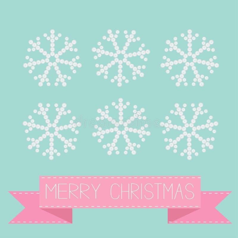Seis copos de nieve del botón en cinta rosada azul Tarjeta de la Feliz Navidad Diseño plano stock de ilustración