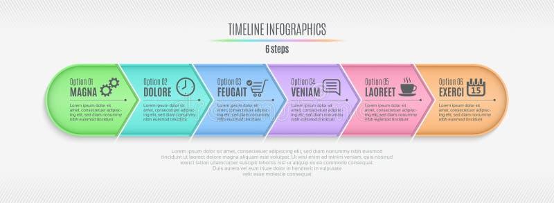 Seis cronologías infographic de los pasos, presentación, informe, diseño web libre illustration