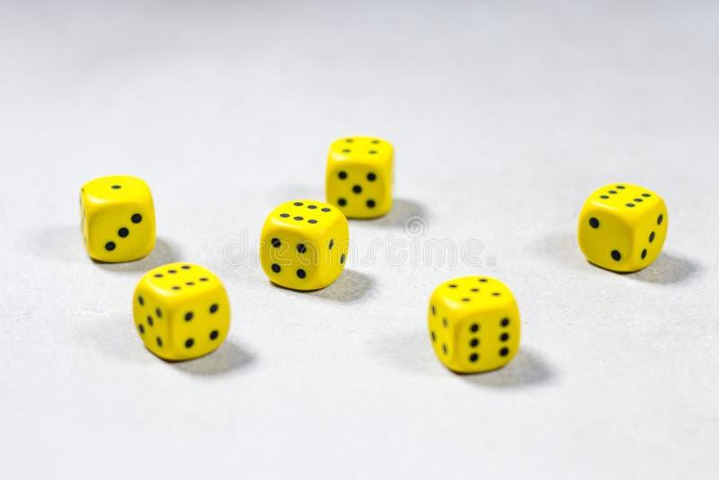 Seis dados amarelos colocados aleatoriamente em Gray Grey Background branco claro limpo foto de stock royalty free