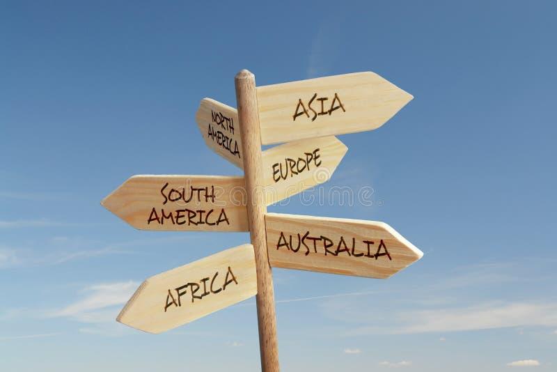 Seis direcciones continentes fotografía de archivo