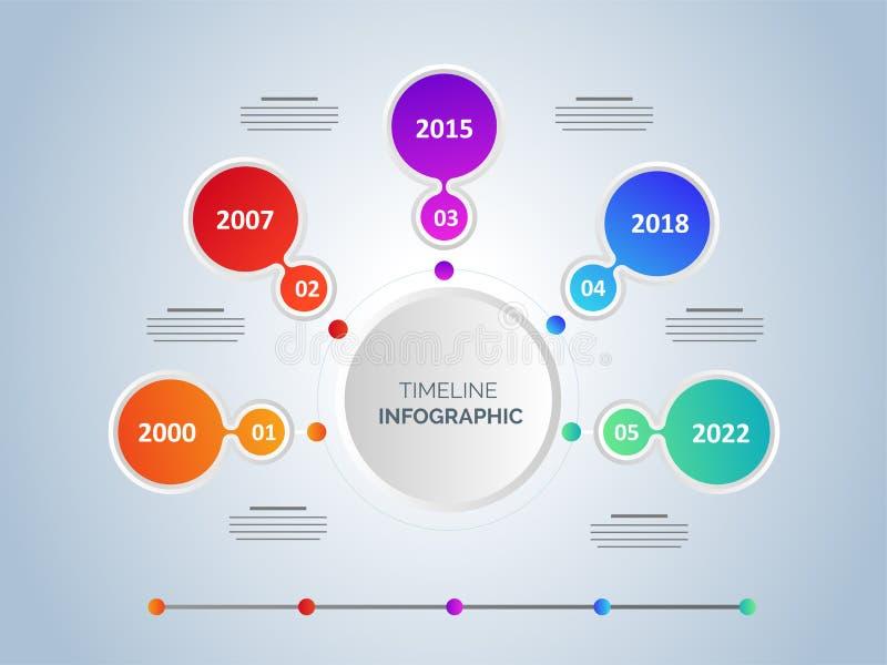 Seis diseños infographic de la plantilla de la cronología de los pasos stock de ilustración