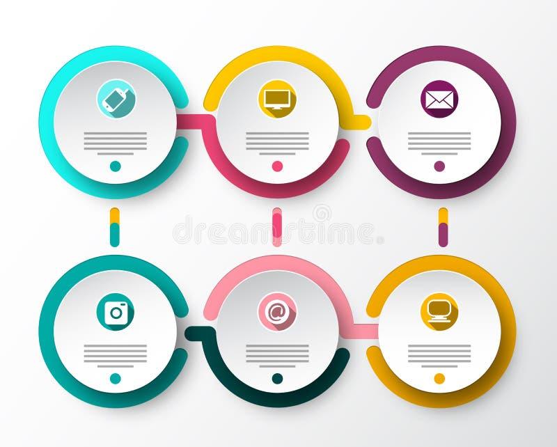 Seis disposições de Infographic do papel do vetor das etapas Projeto do fluxo de dados de Infographics ilustração stock
