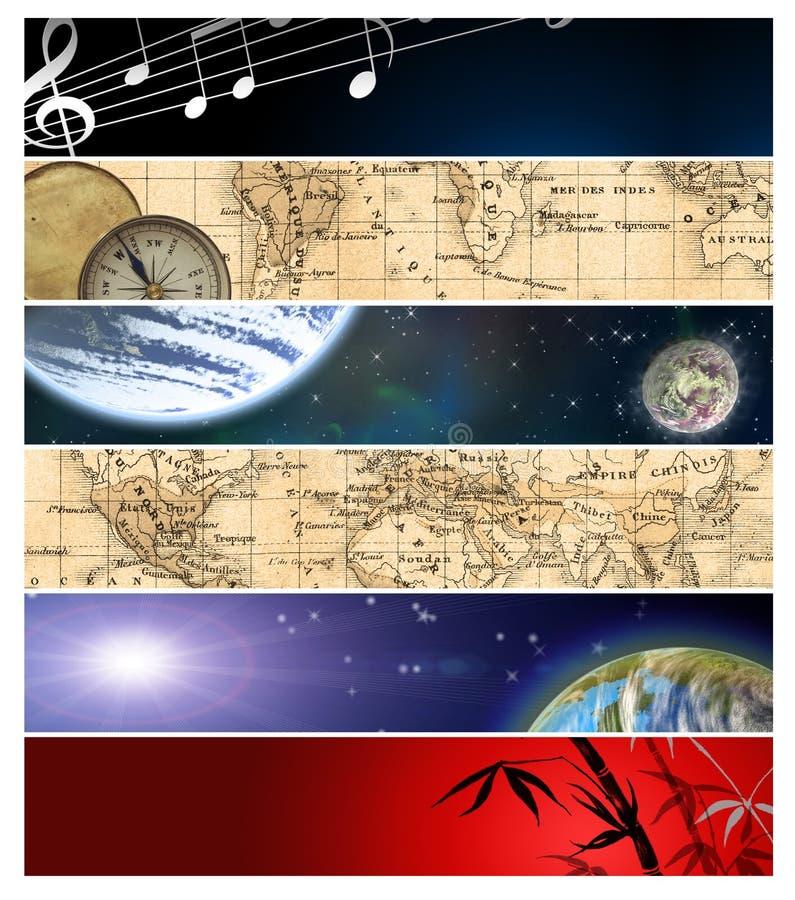 Seis diversas banderas 12 ilustración del vector