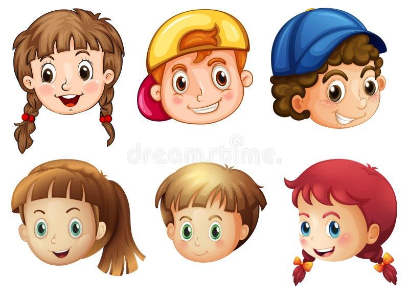 Seis diversas caras ilustración del vector