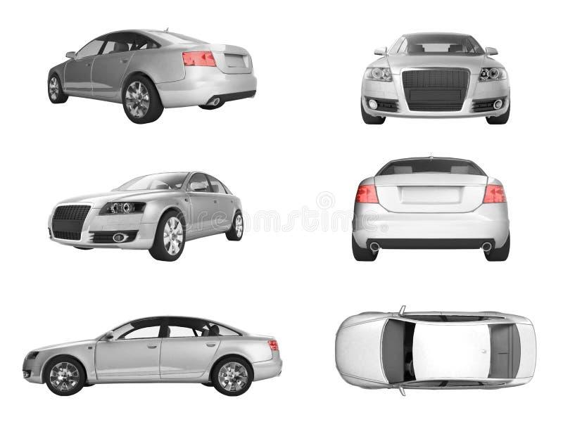 Seis diversas vistas de la imagen 3D del coche de plata imágenes de archivo libres de regalías