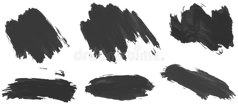 Seis diversos movimientos de tinta negra ilustración del vector