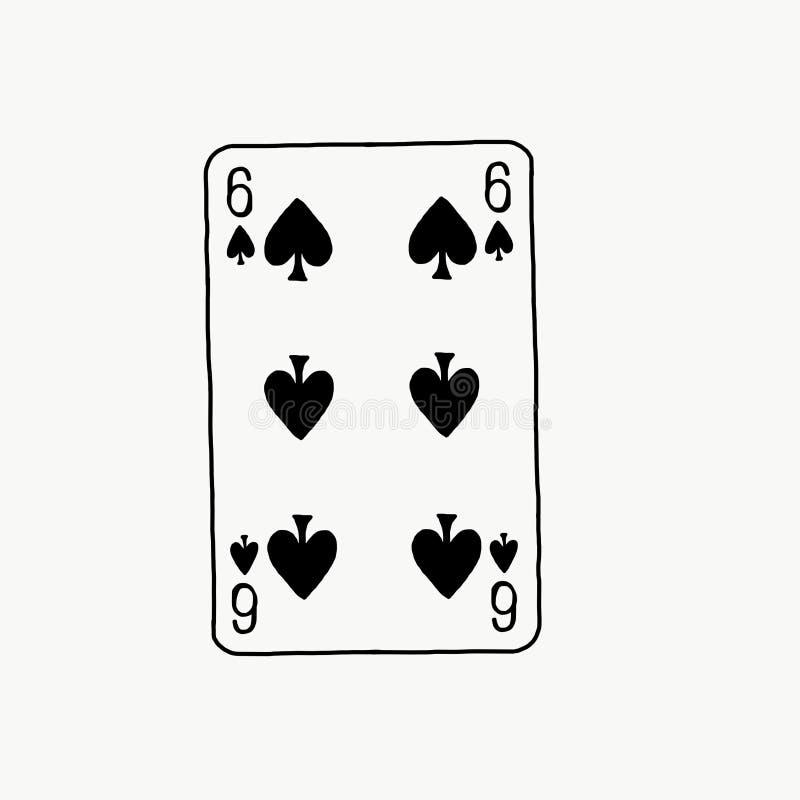 Seis do cartão das pás fotografia de stock royalty free