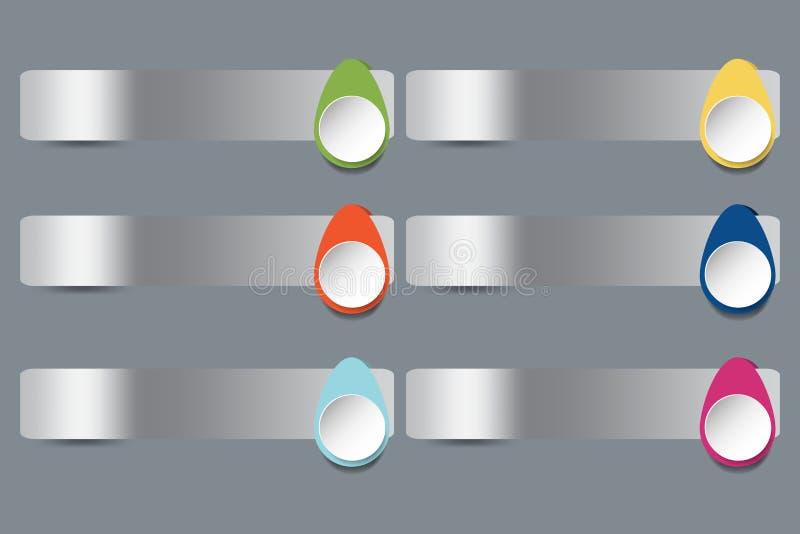 Seis etiquetas horizontales del acero inoxidable con la decoración colorida de los descensos ilustración del vector
