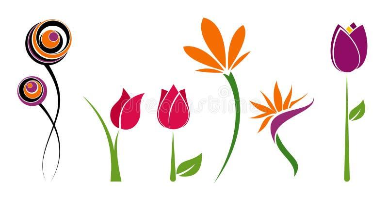 Seis flores ilustración del vector
