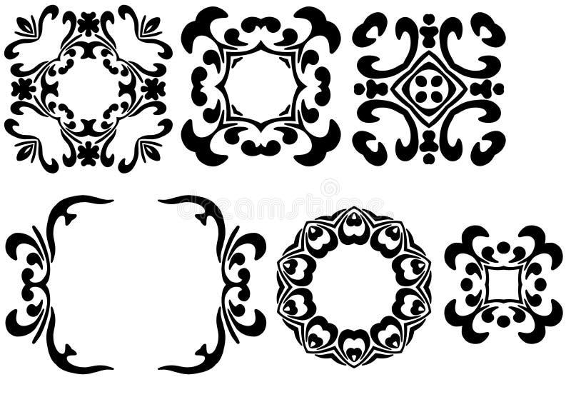 Seis frames pretos ilustração stock