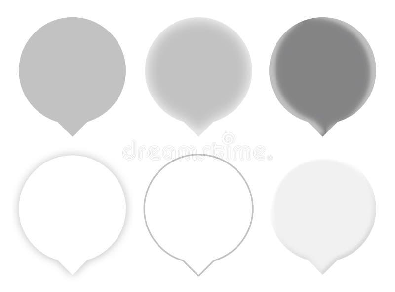 Seis Gray Map Pointers imágenes de archivo libres de regalías