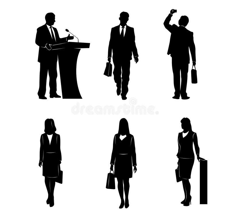 Seis hombres de negocios de las siluetas stock de ilustración