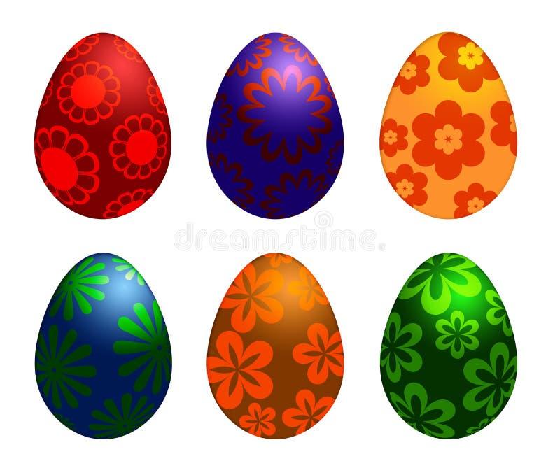 Seis huevos coloridos del día de Pascua con diseños florales ilustración del vector