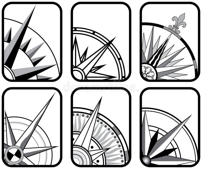 Seis iconos del compás ilustración del vector
