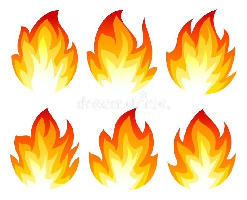 Seis iconos del fuego stock de ilustración