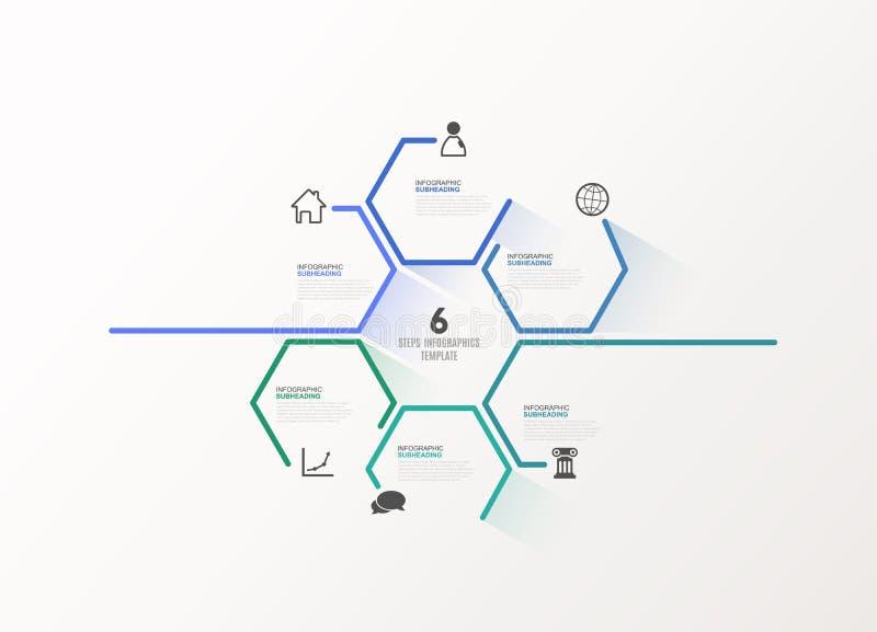Seis ilustrações coloridas das etapas do progresso do vetor do hexágono ilustração royalty free