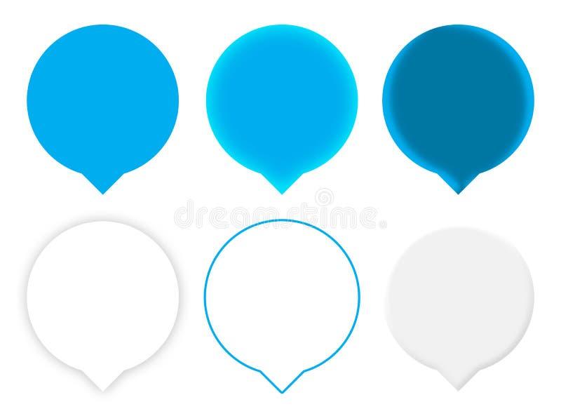 Seis indicadores azules del mapa fotografía de archivo