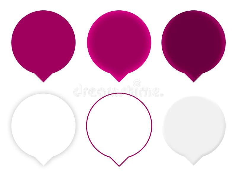 Seis indicadores púrpuras del mapa imagen de archivo