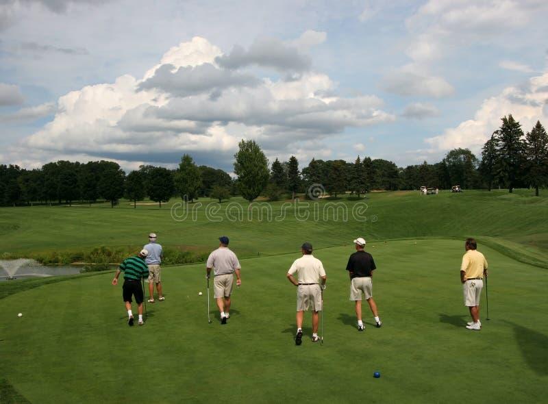 Seis jogadores de golfe no campo de golfe imagem de stock royalty free