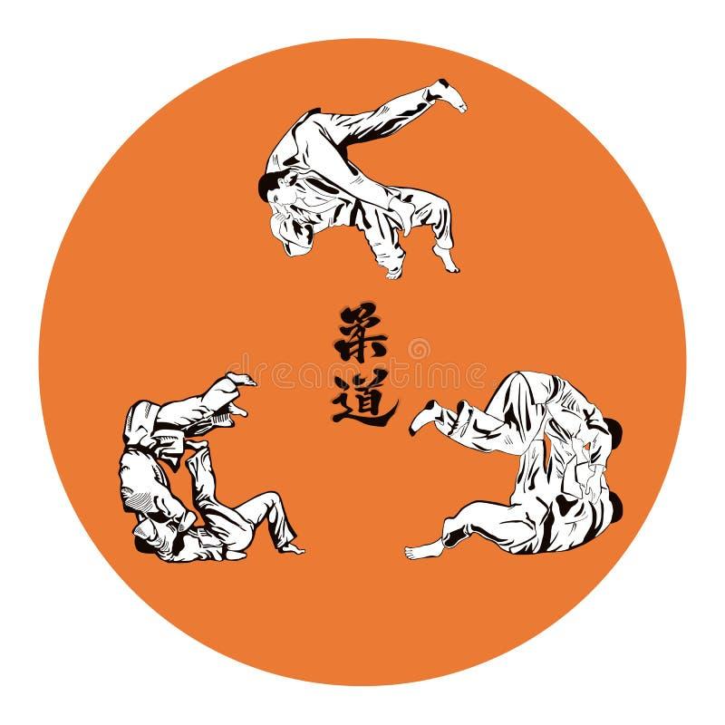 Seis judô dos lutadores ilustração stock