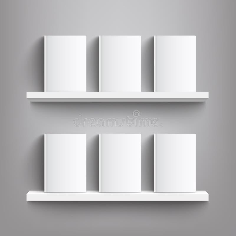 Seis libros blancos con las cubiertas en blanco en un estante - maqueta realista de las cubiertas de libro en blanco que se coloc libre illustration