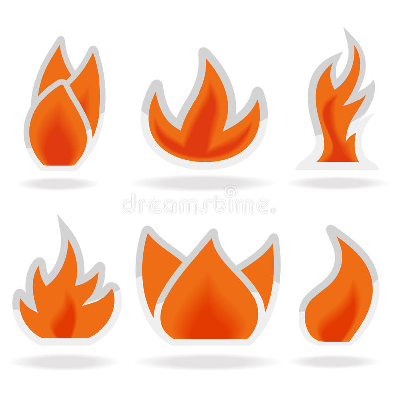 Seis llamas de las luces stock de ilustración