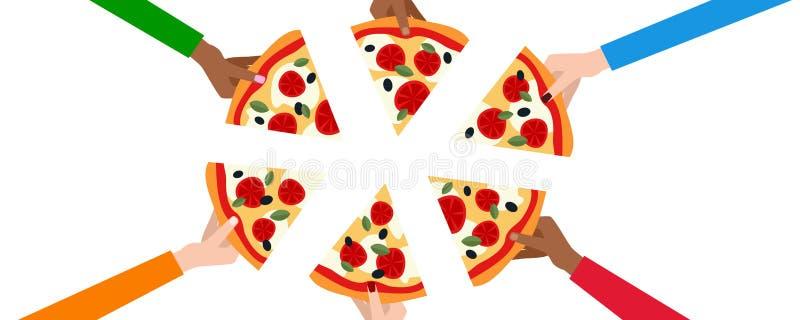 Seis mãos com fatias de bandeira da pizza ilustração royalty free