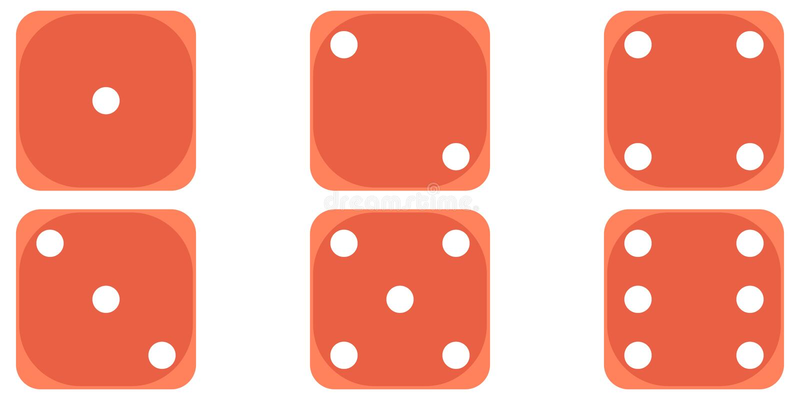 Seis marfins de rolamento do pôquer do jogo dos dados, cubo do diabo, estilo liso do cubo do diabo do vetor para jogar ilustração do vetor