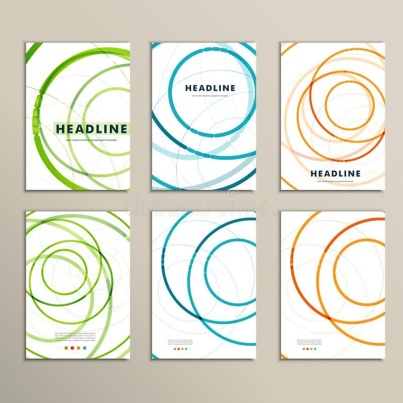 Seis modelos del vector con los folletos abstractos del círculo stock de ilustración