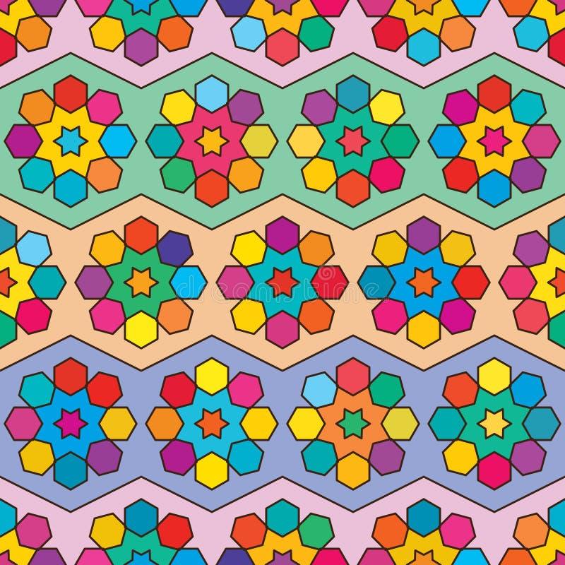 Seis modelos inconsútiles de la simetría colorida del galón del hexágono de la estrella ilustración del vector