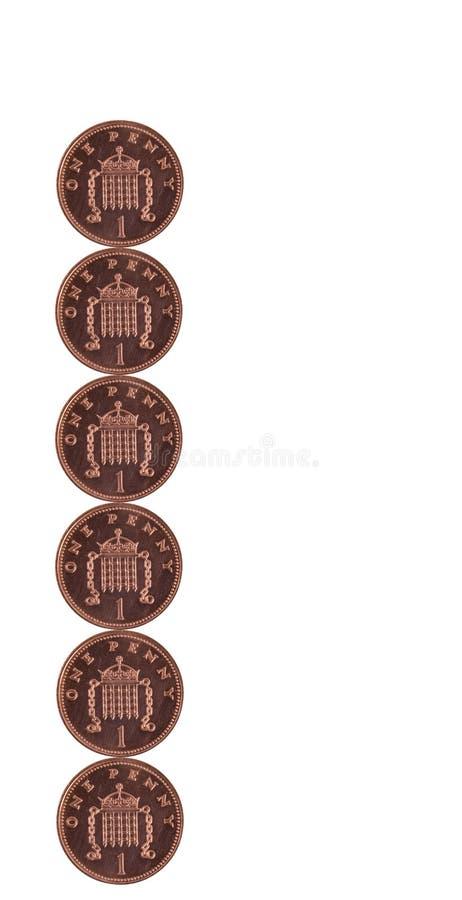 Seis moedas de um centavo fotos de stock royalty free