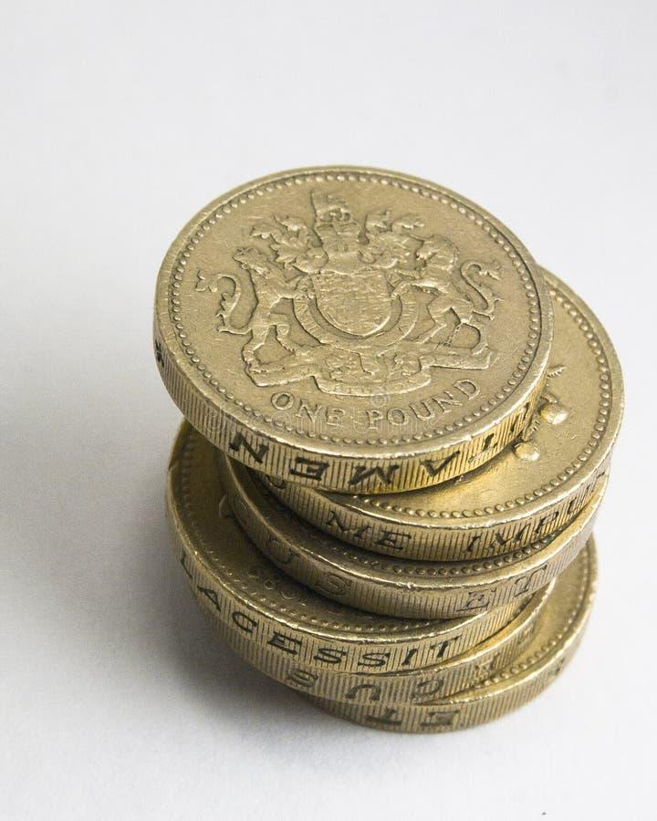Seis monedas del inglés £1 foto de archivo
