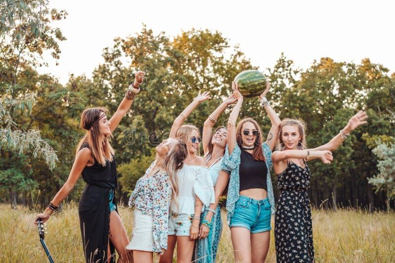 Seis muchachas en naturaleza se divierten fotografía de archivo libre de regalías