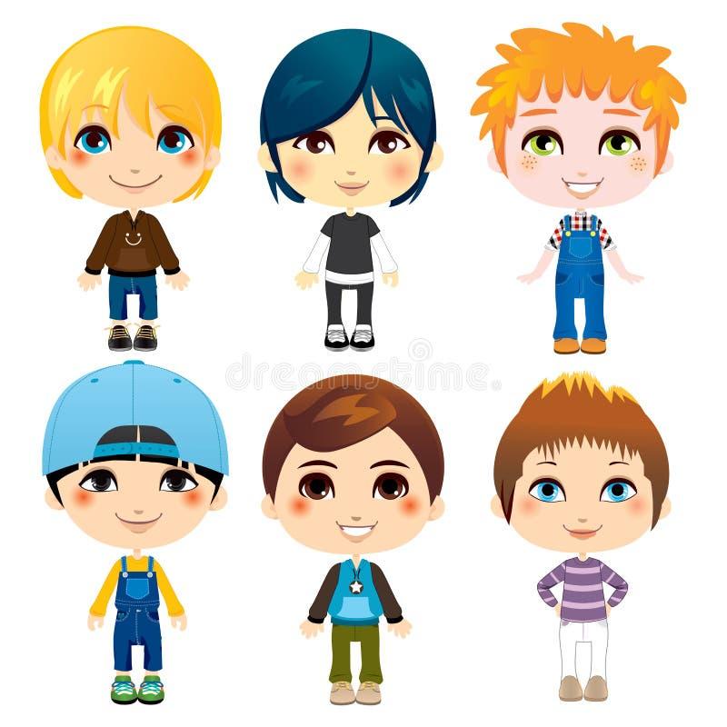 Seis niños pequeños stock de ilustración