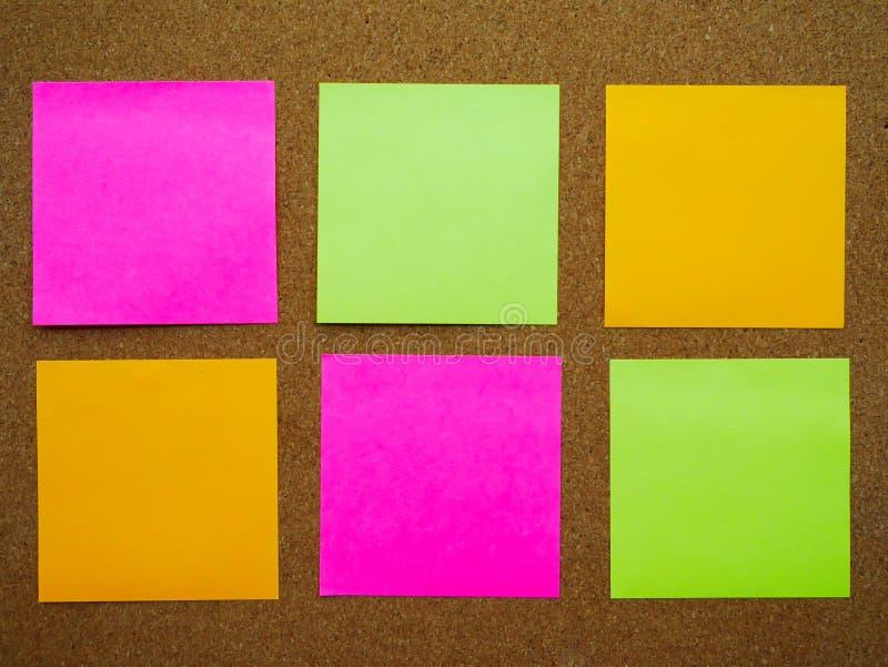 Seis notas de los posts imagen de archivo
