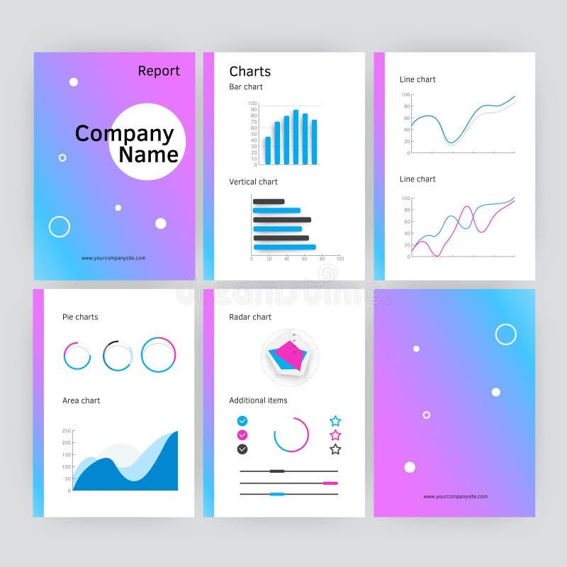 Seis páginas de plantilla moderna del informe anual del vector en estilo plano libre illustration