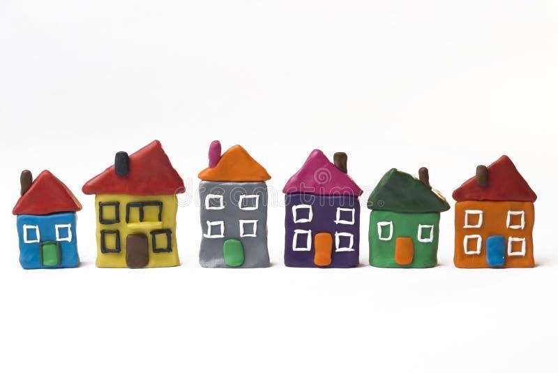 Seis pequeñas casas fotografía de archivo