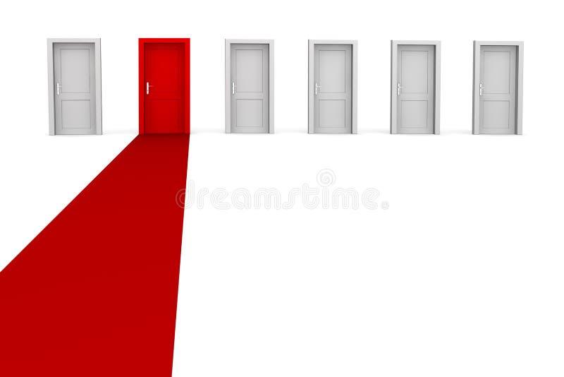 Seis portas, um tapete - vermelho ilustração royalty free